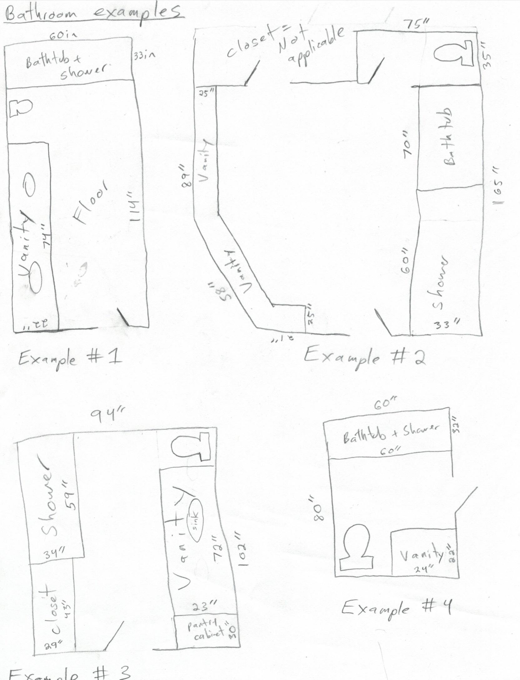 Bathroom remodel drawing examples